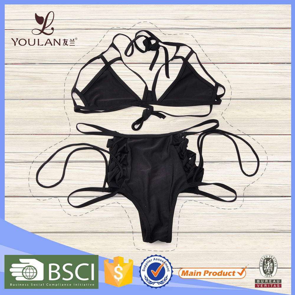 2016 Design Good Quality Black Bandage Sexy Lady Bikini Sex