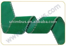 Green Polyethylene Flocked Velvet Ribbon with Silver Wire-Edged