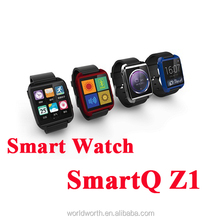 new model watch mobile phone 100% Original SmartQ Z1 Smart Watch For Iphone / Samsung Galaxy Note3 WIFI Bluetooth Android 4.3