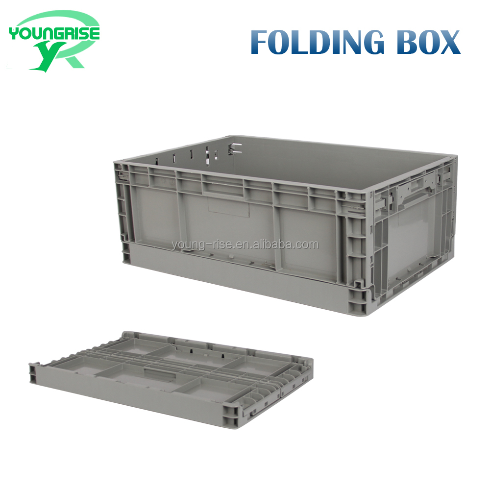 60x40x23 durable wholesale plastic collapsible tool and fruit container plastic stackable tote bins for transport