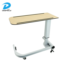 Good Quality HPL Board Mobile Medical Over Bed Table Hospital Bedside Cabinets With Wheels