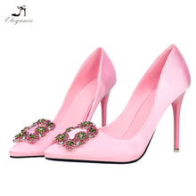 Women Pink Blush Satin Diamond Square Buckle Pointy Toe High Heel Dress Shoes Bridal Wedding Stilettos Pumps