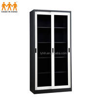 Full Height office furniture steel glass door mirrored file cabinet