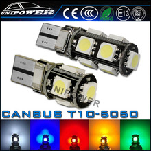 High quality t10 canbus light/ 5050 5smd led canbus lamp/T10 5050 canbus led bulb