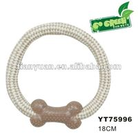 natural pet rope toys with Plastic bone