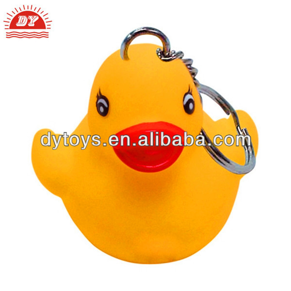 Yellow rubber duck LED keychain