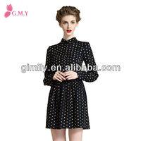Chinese women long sleeves yellow polka dot shirt dress