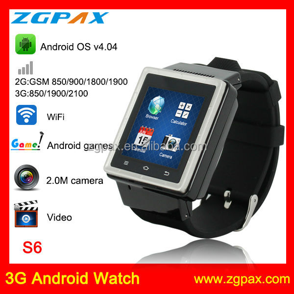 NO.1! smart watch with 3g sim card Capacitive Touch screen Android smart watch,,bluetooth watch shenzhen factory S6 ZGPAX