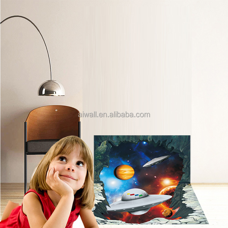 AY3027 Quote Wall Decals/Stickers Spacecraft Wall Murals 3D Embellishments Floor Cartoon Stickers for Kids