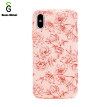 custom pink TPU silicone 5 inch floral mobile phone case for iphone