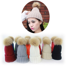 2015 New high quality winter hats thicken knitted cap hat with pom