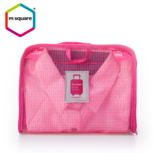 Clear Pink Flexible Design Woman Travel Bra Grid Storage Bag
