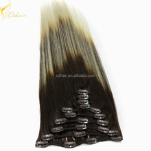 Hot sell remy human hair extension 8-30inch ombre clip in brazilian hair