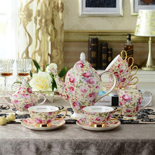 Luxury style porcelain tea coffee set turkish espresso cup and saucer. Cheap Arabic Coffee And Tea Set 15 pcs with rose pattern