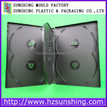 hard plastic cd dvd case and black 6 discs dvd case 14mm with double tray
