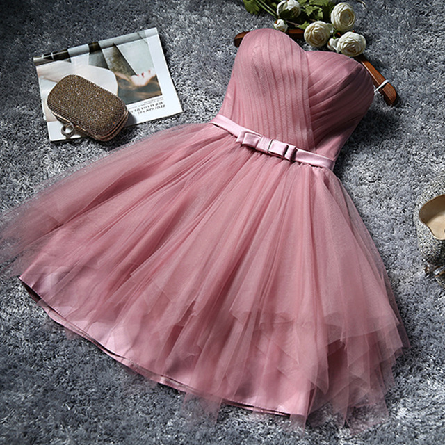 W1120 2016 Hot Sale Knee Length Short Layered Pink Chiffon Bridesmaid Dress