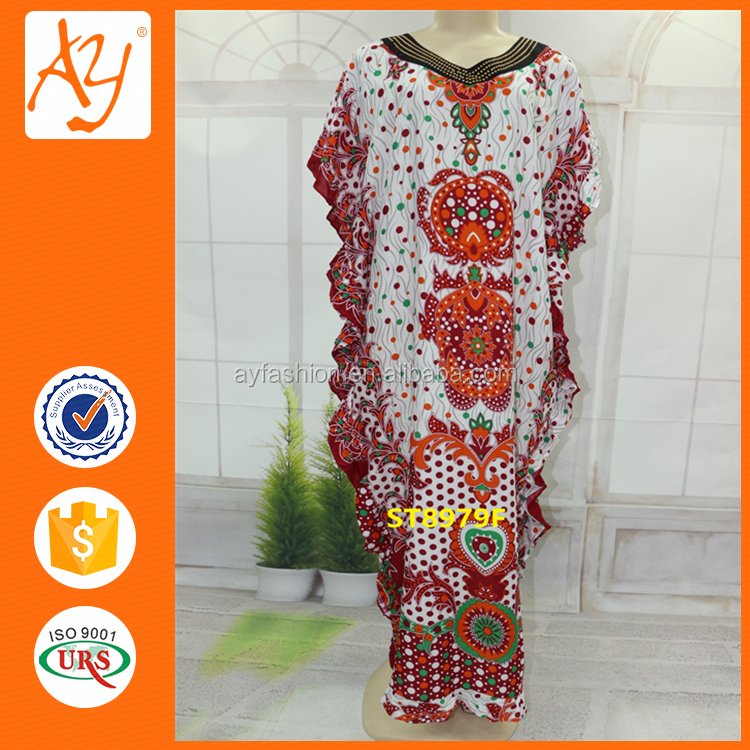 Hot Drilling Embroidery Neck Cotton Kaftan India With Waveselvedge