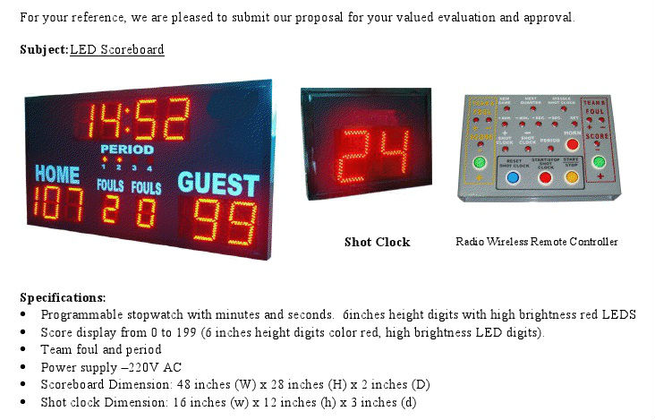 Wireless Digital Electronic Basketball Scoreboard