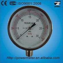 (YE-75) 75mm 30kpa chrome case low pressure control manometer