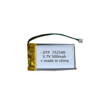 Factory price 752540 3.7v 500mah rc lithium battery
