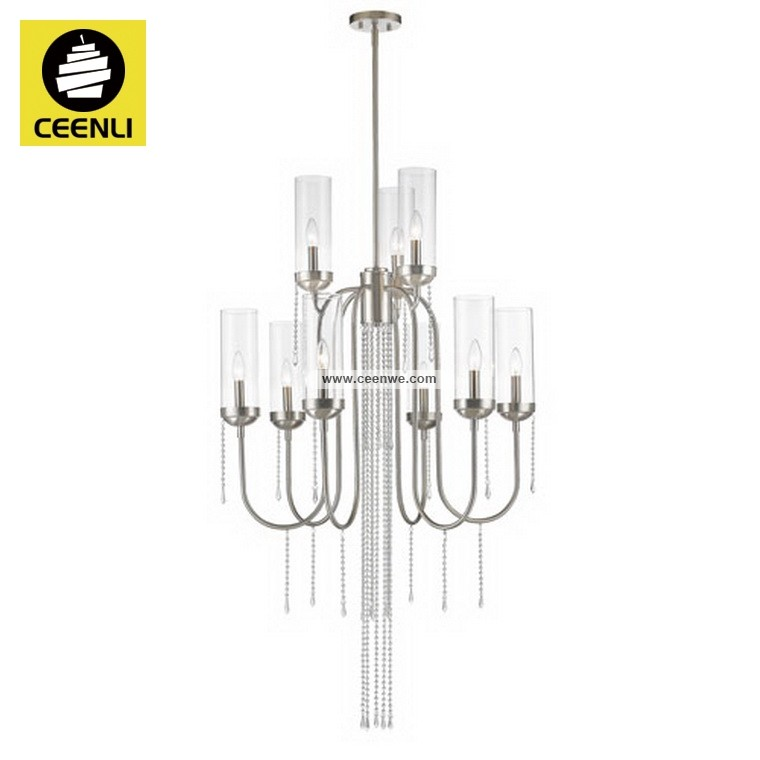 Graceful 9 light Steel crystal beads clear glass chandelier with sweeping arms