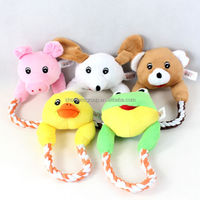 Pet Puppy Dog Plush Toys On a Rope Interactive Chewy Squeaker Squeaky Make Sound