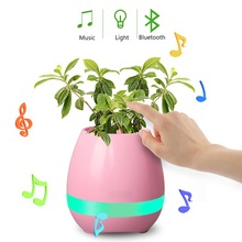 Mini led light smart music flowerpot with bluetooth speaker touch leaf to play music