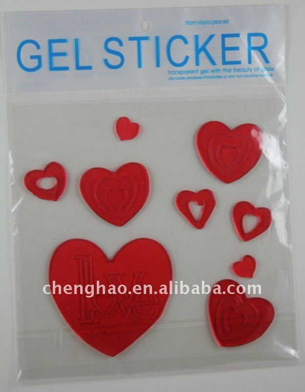 sticky window decoration heart gel cling