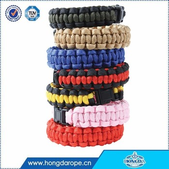 100% braided polyester 7-strand 550 paracord survival bracelet