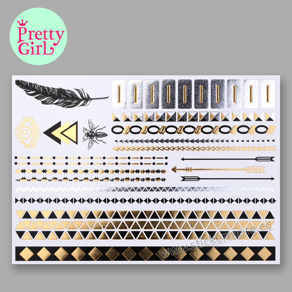 Original Fashiontats Metallic Gold Jewelry Temporary Tattoos GTA22