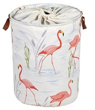 folding cylinder flamingo pattern canvas laundry bag with drawstring handles