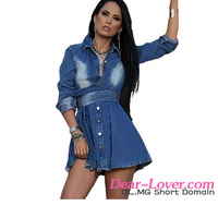 2016 Wholesale Long Sleeves Jeans Shirt Flared Dress Casual Frock Designs