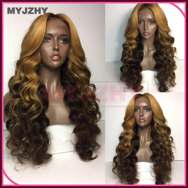 Wholesale <strong>cheap</strong> high quality mixed colored Body wave brazilian huaman hair wig lace front wig
