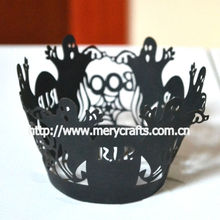 Party supplies halloween decorative laser cut cupcake wrappers