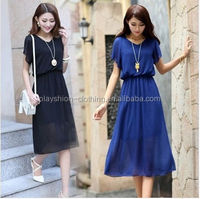 Latest Korean Model Girl Dress Slim Chiffon Long Dress For Hot Summer Plus Size Women Dress