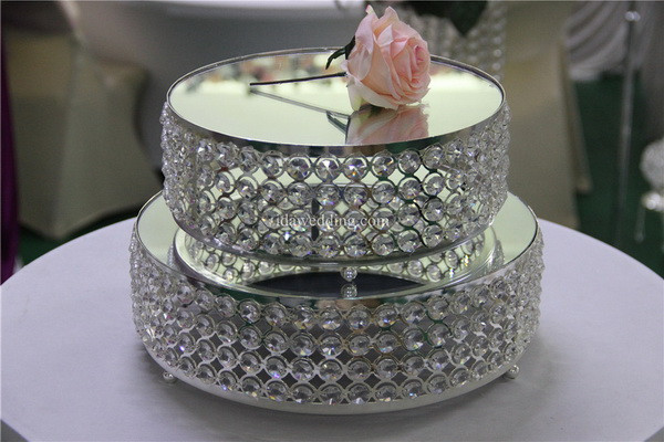IDA Romantic metal crystal mirror cake stand /beaded cake stand for decor(IDAM02)
