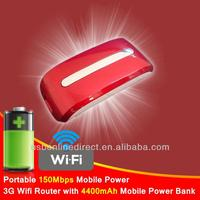 Portable 150Mbps Mobile Power 3G Wifi Router with 4400mAh Mobile Power Bank Red