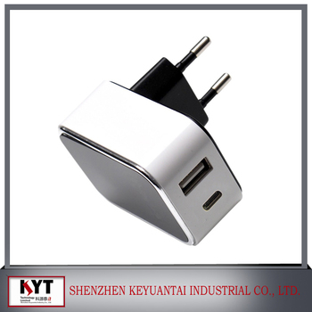 usb type C charger, DC 5V 3.1A dual port wall charger usded for iphone, samsung