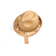Fashion Unisex Summer Beach Cap Trilby straw hats with small tassels