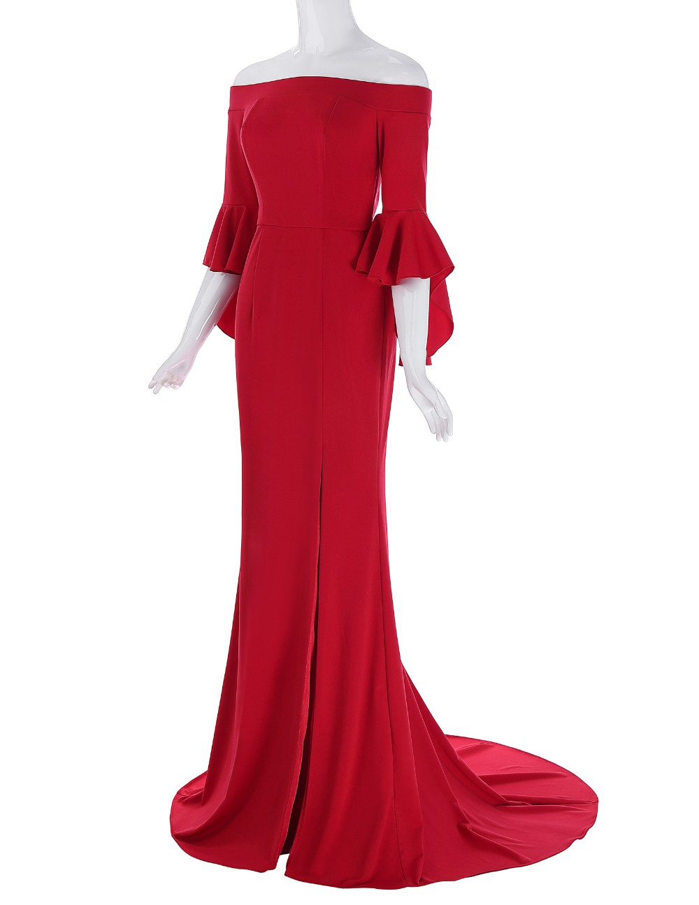 Grace Karin Floor Length Three Quarter Ruffle Sleeve High Split Cheap Red Evening Prom Party Dress 7 Size US 4~16 GK001073-1