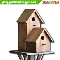 Stand Wooden Bird Houses Set,Outdoor Garden Bird Houses For Two