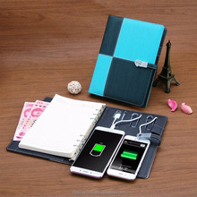 new products 2018 dairy Korea style a5 ring binder notebook with power bank and usb flash drive
