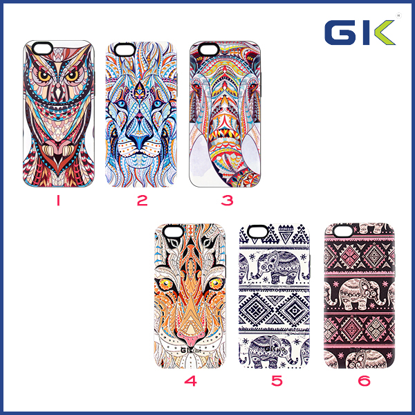 [GGIT] Fashion 3D Animal Pattern 2 in 1 TPU+PC Sublimation Combo Case For IPhone 6 Cover