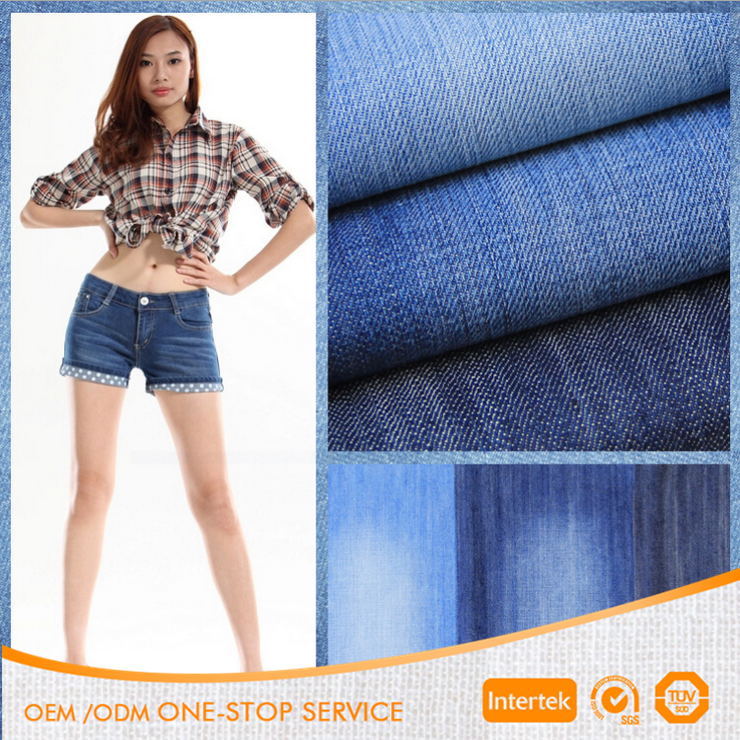 100% cotton twill stone washed blue color denim fabric for apparel
