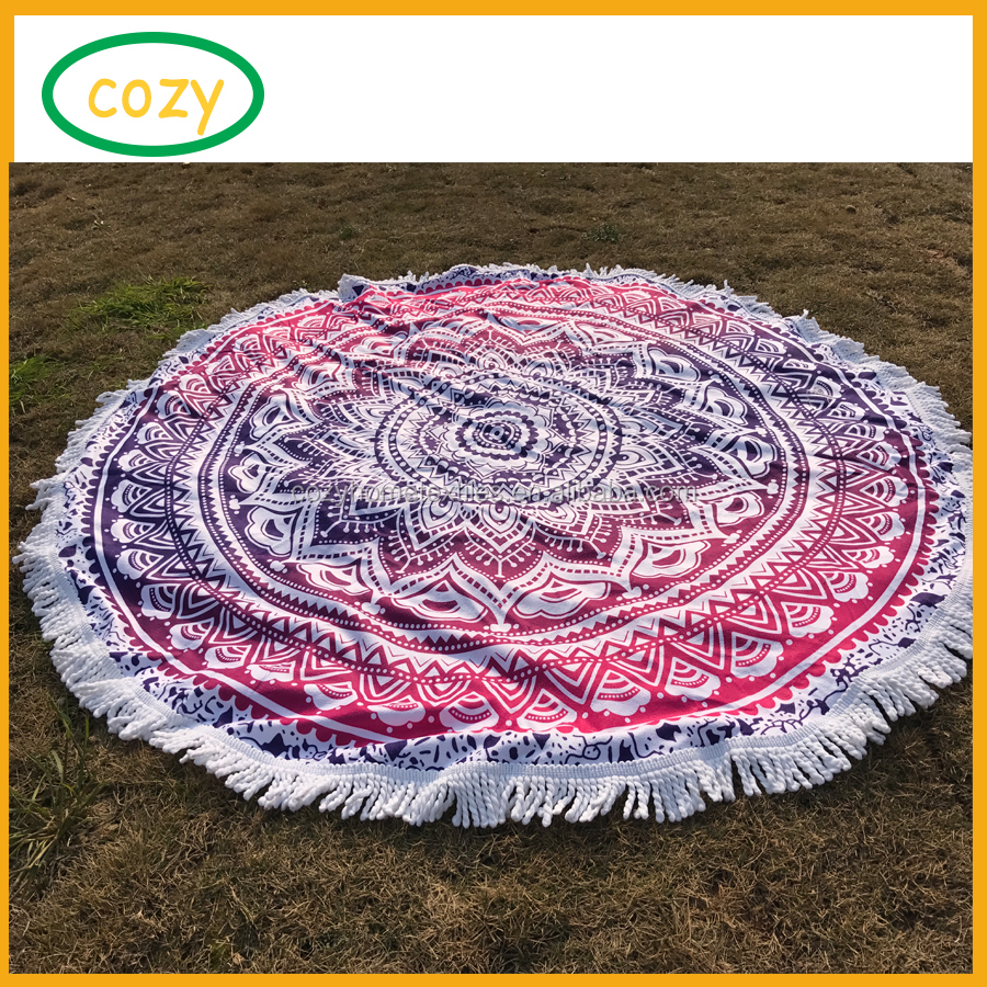 2017 Latest Microfiber Round Beach Towel Mandala Roundie Throw Blanket Beach, Large Round Beach Blanket for Family