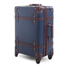 Premium Vintage/Retro Customized PU Leather Travel trolley luggage suitcase with 4 spinner wheels