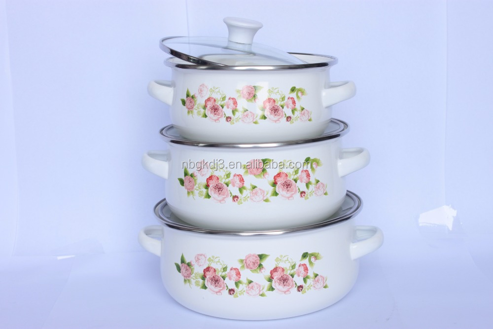 enamel mini pot white color with decal 3pcs /set