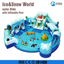 water paradise lagerest inflatable ice snow world water slide with pool