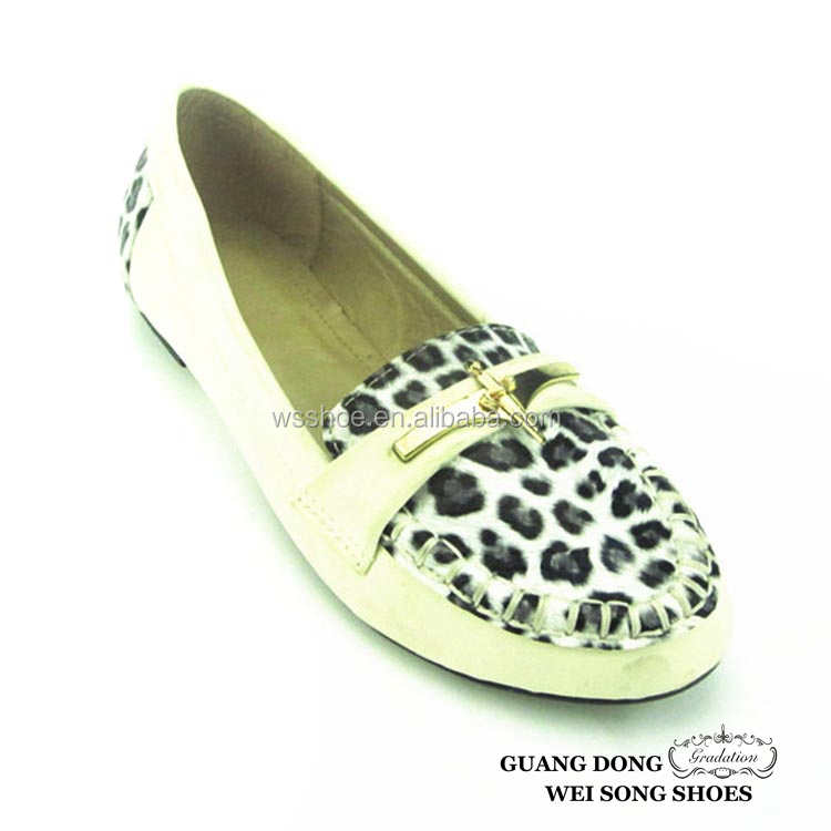 women shiny flat unique design metal decorations shoes exotic women shoes