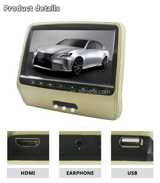 SUV car monitor 9 inch headrest dvd monitor with rope sewing
